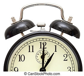 old fashioned alarm clock, black