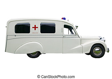 Vintage old Ambulance, isolated on white. With clipping path.
