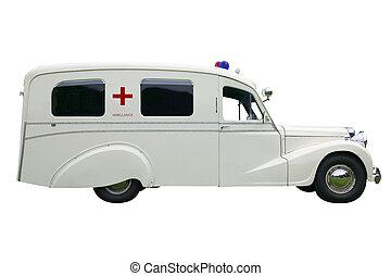 Old fashioned Ambulance - Vintage old Ambulance, isolated on...