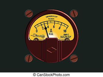 Old-Fashioned Ampermeter Available EPS-8 vector format ...