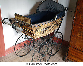 Old fashioned baby stroller