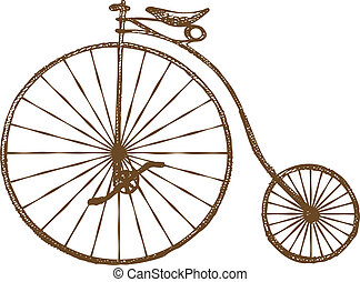 Hand-drawn old fashioned bicycle, retro bike