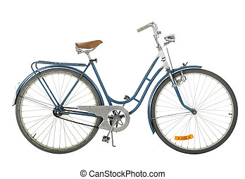 Old fashioned bicycle - Blue Old fashioned bicycle isolated...