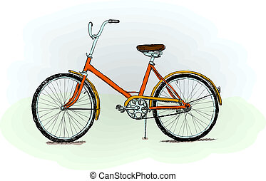 Old-fashioned red bicycle - rough color vector illustration