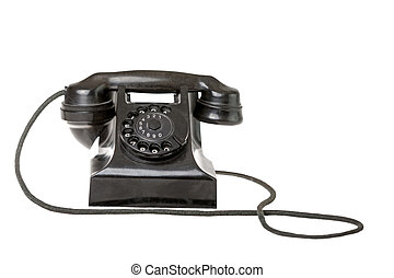 Old-fashioned black rotary telephone
