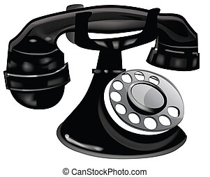 Old Fashioned Black Telephone - Vector EPS10 and JPEG