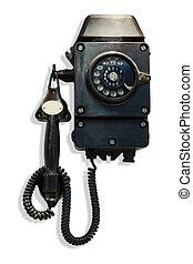 Old-fashioned black wall-mounted telephone with rotary dial