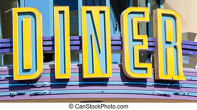 diner sign - Old fashioned blue and yellow diner sign
