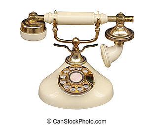 telephone - Old fashioned bone coloured telephone.