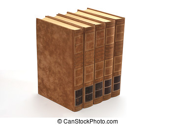 Old fashioned books in brown. Free space to put your own...