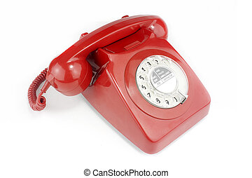 old fashioned bright red telephone handset - Red old...
