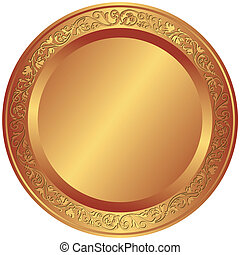 Old-fashioned bronze plate