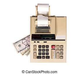 Old fashioned calculator dollars
