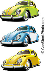 Vectorial icon set of old-fashioned cars isolated on white backgrounds. Every car is in separate layers. File contains gradients and blends.