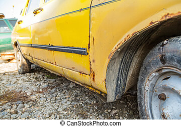 Old fashioned car - Side view of an old fashioned car in a ...