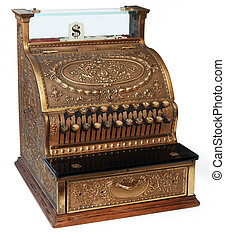 old fashioned cash register, isomorphic view on white...
