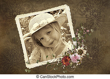 Old-fashioned Child - Little girl in old-fashioned snapshot...