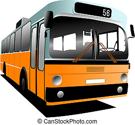 Old fashioned city bus. Tourist coach. Vector illustration