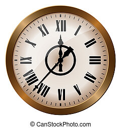Old-fashioned clock - Illustration of antique clock