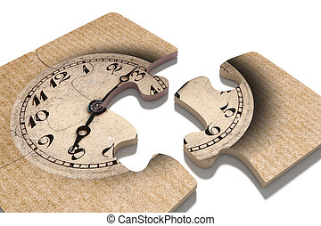 Old-fashioned clock print on puzzle pieces