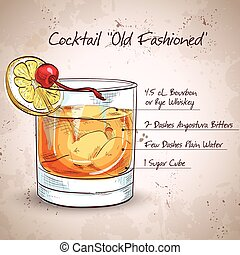 Old fashioned cocktail, consisting of Bourbon, Angostura...