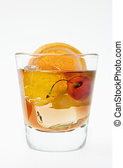 Old Fashioned Cocktail - Old fashioned mixed drink on a...