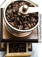 coffee - Old-fashioned coffee grinder with coffee beans