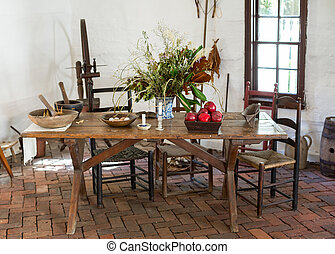Old fashioned colonial kitchen table