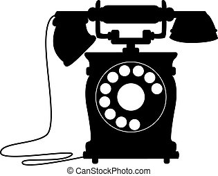 Black and white silhouette illustration of an old-fashioned dial up telephone with a handset on a cradle