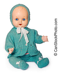 Old-fashioned doll - Old doll dressed in hand-knitted...