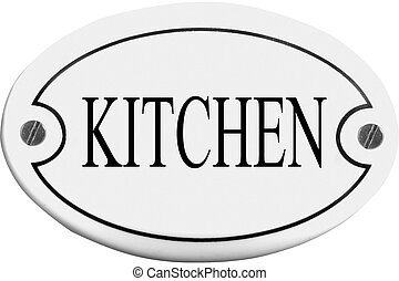 Old-fashioned door name plate  with text kitchen