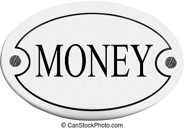 Old-fashioned door name plate  with text money