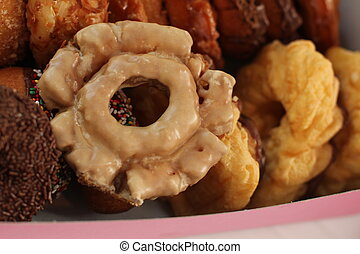 old fashioned doughnut in box