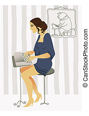 old fashioned drawing typist romantic young woman