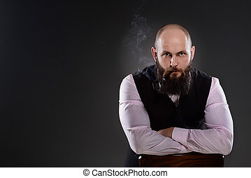 Old-fashioned dressed bearded man