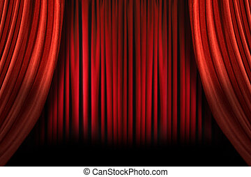 Old fashioned elegant stage with swag velvet curtains - Old...