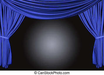 Old fashioned, elegant theater stage with velvet curtains.