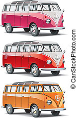old-fashioned european van - Vectorial icon set of minibus ...