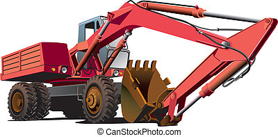 detailed vectorial image of red old-fashioned wheel excavator, isolated on white background. File contains gradients, not blends and strokes.