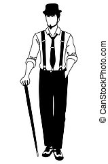 old-fashioned faceless man walking with a cane