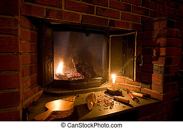Old Fashioned Fireplace - A fireplace scene in an old...
