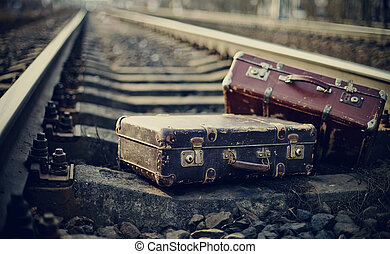 Old fashioned forgotten a suitcases