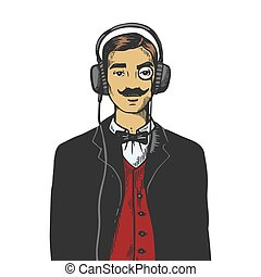 Old fashioned gentleman listening music on headphones color sketch engraving vector illustration. Scratch board style imitation. Black and white hand drawn image.