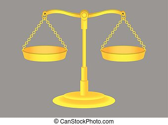 Old Fashioned Golden Weighing Scales Illustration