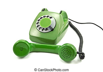 Old-fashioned green analogue phone on a white background