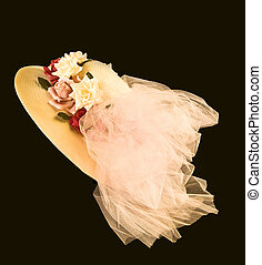 Old Fashioned Hat - Old fashioned Straw hat with flowers and...