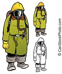 Old fashioned hazmat gear