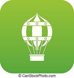 Old fashioned helium balloon icon digital green