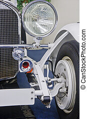 Old Fashioned Horn and Headlight on Antique Car
