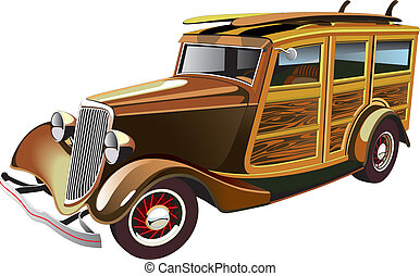 Vectorial image of old-fashioned yellow hot rod with wooden carcass and two surfboards on roof, isolated on white background. Contains gradients and blends.